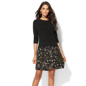 NY & CO Black Floral Sweater Dress
